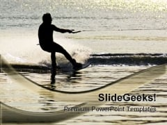 Sunset Waterskier Vacation PowerPoint Templates And PowerPoint Backgrounds 0211