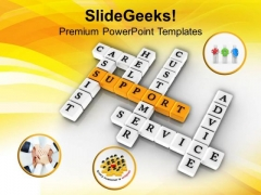 Support Service Assist Crosswords PowerPoint Templates Ppt Backgrounds For Slides 0313