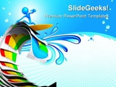 Surfing On Business Reports Success PowerPoint Themes And PowerPoint Slides 0911
