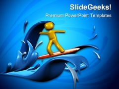 Surfing People Beach PowerPoint Backgrounds And Templates 1210