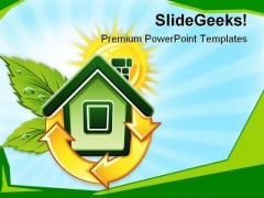 Symbol Of Ecological House Environment PowerPoint Themes And PowerPoint Slides 0411