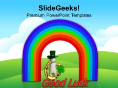 Symbols Of St Patricks Day And Rainbow PowerPoint Templates Ppt Backgrounds For Slides 0313