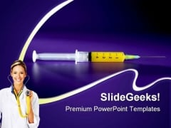 Syringe With Needle Medical PowerPoint Themes And PowerPoint Slides 0211