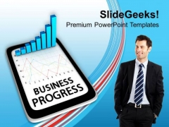 Tablet Showing Business Progress PowerPoint Templates Ppt Backgrounds For Slides 0313