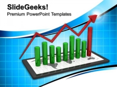 Tablet With Bar Graph Success PowerPoint Templates And PowerPoint Themes 0712