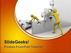 Team Building Up A Jigsaw Construction PowerPoint Themes And PowerPoint Slides 0811