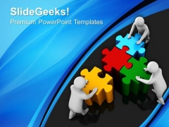 Team Effort To Assemble Puzzle PowerPoint Templates Ppt Backgrounds For Slides 0213