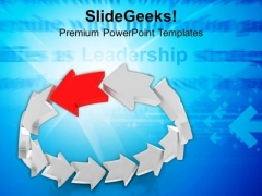 Team Effort With Leader As Curved Arrows PowerPoint Templates Ppt Backgrounds For Slides 0313