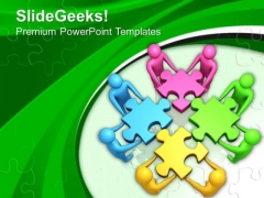 Team Efforts To Assemble Jigsaw Puzzles PowerPoint Templates Ppt Backgrounds For Slides 0213