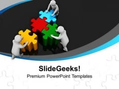 Team Efforts To Combine Jigsaw Puzzles PowerPoint Templates Ppt Backgrounds For Slides 0313