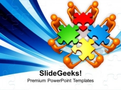 Team Efforts To Solve Puzzle PowerPoint Templates Ppt Backgrounds For Slides 0213
