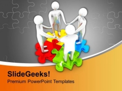 Team Joining Hands On Colorful Puzzle PowerPoint Templates Ppt Backgrounds For Slides 0213