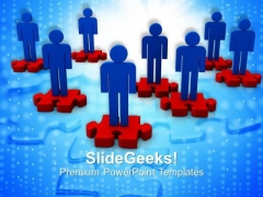 Team Of 3d Men On Puzzle Pieces PowerPoint Templates Ppt Backgrounds For Slides 0113