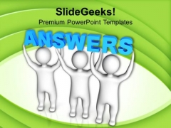 Team Of People Lifting Word Answers PowerPoint Templates Ppt Backgrounds For Slides 0213