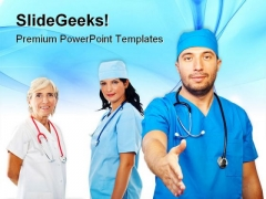 Team People Handshake Medical PowerPoint Themes And PowerPoint Slides 0411