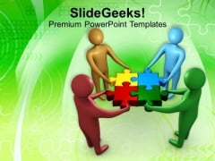 Team Working Together To Solve The Puzzle PowerPoint Templates Ppt Backgrounds For Slides 0113