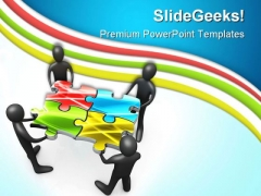 Teamwork And Puzzle Business PowerPoint Themes And PowerPoint Slides 0811