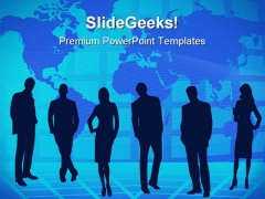 Teamwork And World Map Business PowerPoint Themes And PowerPoint Slides 0811