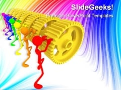 Teamwork Gear Industrial PowerPoint Templates And PowerPoint Backgrounds 0611