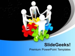 Teamwork On Puzzles Unity Business PowerPoint Templates Ppt Backgrounds For Slides 0213