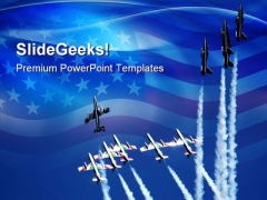 Teamwork Planes Americana PowerPoint Templates And PowerPoint Backgrounds 0711