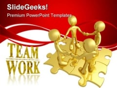 Teamwork Puzzle Business PowerPoint Themes And PowerPoint Slides 0811