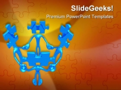 Teamwork Puzzle Leadership PowerPoint Themes And PowerPoint Slides 0811