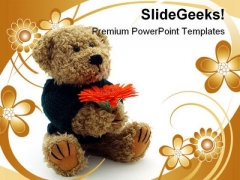 Teddy Bear With Flower Children PowerPoint Templates And PowerPoint Backgrounds 0511