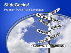 Ten Ways To Exercise Sports PowerPoint Templates And PowerPoint Backgrounds 0911