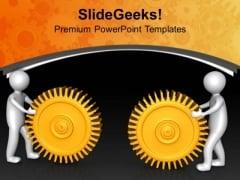The Two Right Gears With Positive Approch PowerPoint Templates Ppt Backgrounds For Slides 0713