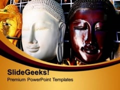 The Wooden Mask Of Buddha Festival PowerPoint Templates And PowerPoint Themes 0712