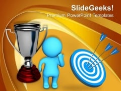Thinking Man Standing Beside Silver Trophy PowerPoint Templates Ppt Backgrounds For Slides 0113