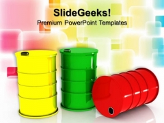 Three Oil Barrels And Business PowerPoint Templates And PowerPoint Themes 0912