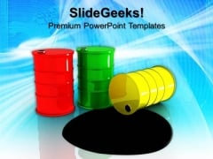 Three Oil Barrels Metallic Industry Petroleum PowerPoint Templates And PowerPoint Themes 0912