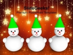 Three Snowman On Christmas Background PowerPoint Templates Ppt Backgrounds For Slides 1212