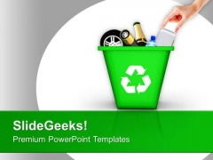 Throw Garbage Can Green Recycling PowerPoint Templates Ppt Backgrounds For Slides 0113