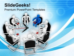 Time Bound Meeting With Leader PowerPoint Templates Ppt Backgrounds For Slides 0713