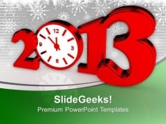 Time Concept With Clock New Year Red PowerPoint Templates Ppt Backgrounds For Slides 0113