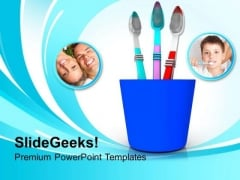 Tooth Brushes In Blue Holder PowerPoint Templates Ppt Backgrounds For Slides 0213