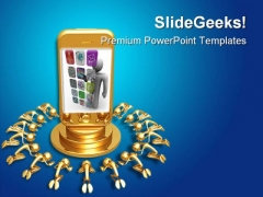 Touch Screen Phone Technology PowerPoint Themes And PowerPoint Slides 0211