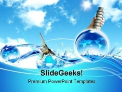 Tower And Ocean Global PowerPoint Templates And PowerPoint Backgrounds 0711