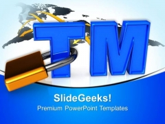 Trademark Sign With Padlock Security PowerPoint Templates And PowerPoint Themes 0612