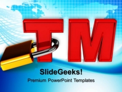 Trademark With Padlock Copyright Protection Security PowerPoint Templates And PowerPoint Themes 0712