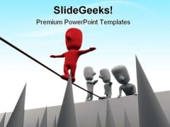 Treading On Thin Line Business PowerPoint Themes And PowerPoint Slides 0411