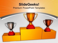 Trophies On Podium Winner Competition PowerPoint Templates Ppt Backgrounds For Slides 0213