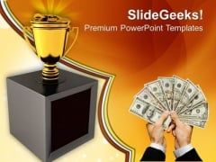 Trophy Cup Full Of Prize Money PowerPoint Templates And PowerPoint Themes 0912