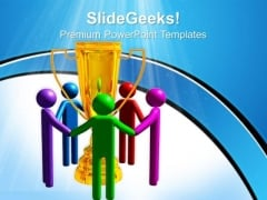 Trophy For Winning Team Success PowerPoint Templates And PowerPoint Themes 0712