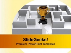 Trophy In Labyrinth Competition PowerPoint Templates Ppt Backgrounds For Slides 0113