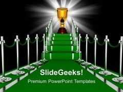 Trophy On A Green Carpet Path Entrance PowerPoint Templates Ppt Backgrounds For Slides 0113