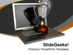 Trophy On Silver Laptop PowerPoint Templates Ppt Backgrounds For Slides 0213